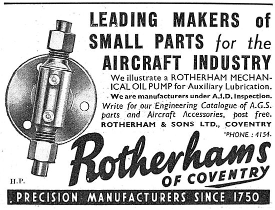 Rotherhams Of Coventry  Manufacturers Of Aircraft Parts - AGS