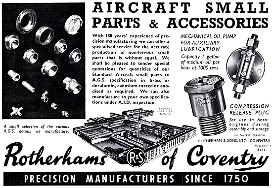 Rotherams Of Coventry : Manufacturers Of Aircraft Parts - AGS
