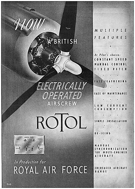 Rotol Electrically Operated Variable Pitch Propellers