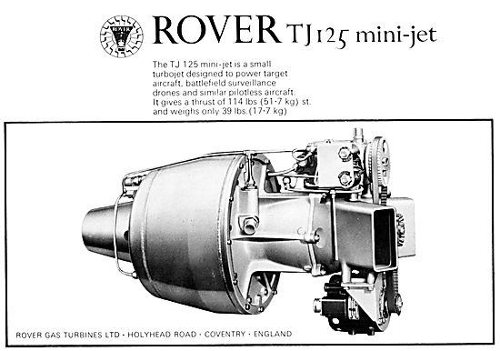 Rover TJ 125 Mini-Jet Gas Turbine For Target Aircraft & Drones