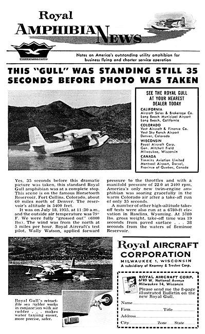 Royal Aircraft Corporation. Royal Gull Amphibian Aircraft