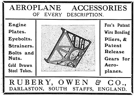 Rubery Owen Engine Plates And Eyebolts For Aeroplanes