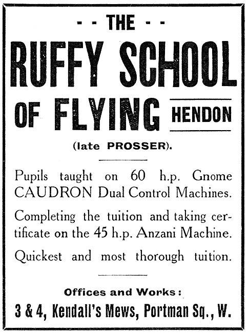 The Ruffy School Of Flying Hendon. Prosser 1914