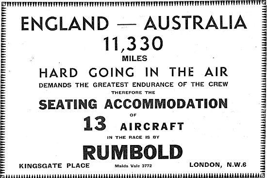 Rumbold Aircraft Seating - MacRobertson Race Aircraft