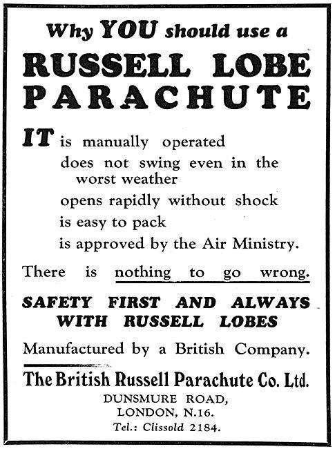 British Russell Lobe Parcahutes 1932