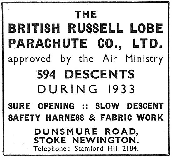 British Russell Lobe Parachute - 594 Descents During 1933