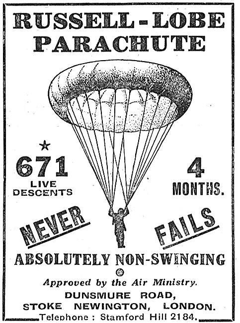 British Russell-Lobe Parachute: 671 Live Descents In 4 Months.