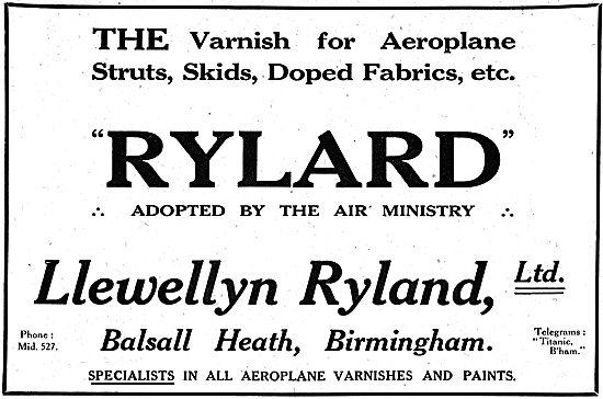 Rylard - Aircraft Varnishes & Enamels. Llewellyn Ryland. Bham