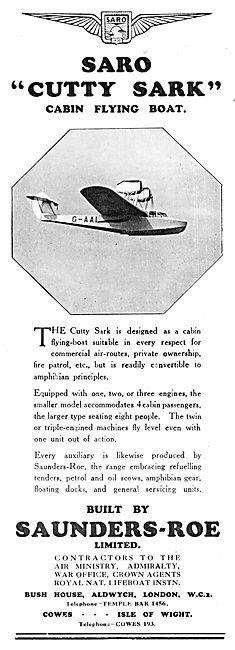 Saunders-Roe Cutty Sark Flying Boat - SARO