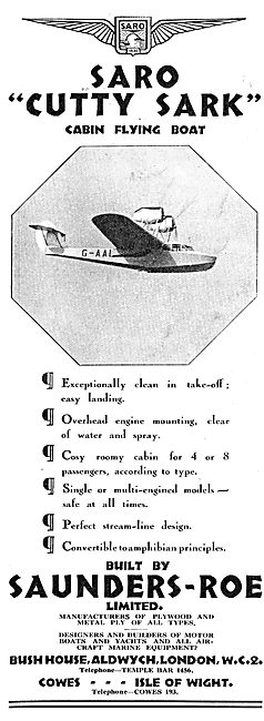 Saunders-Roe SARO Cutty Sark Cabing Flying Boat