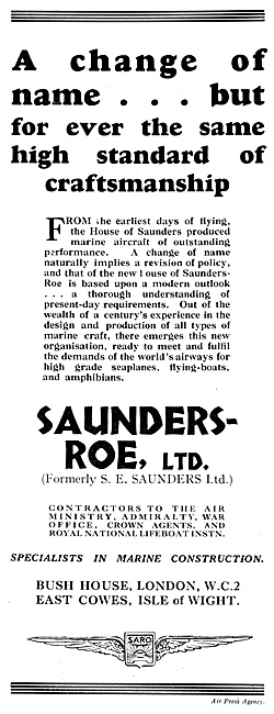 Saunders-Roe Announcement 1929