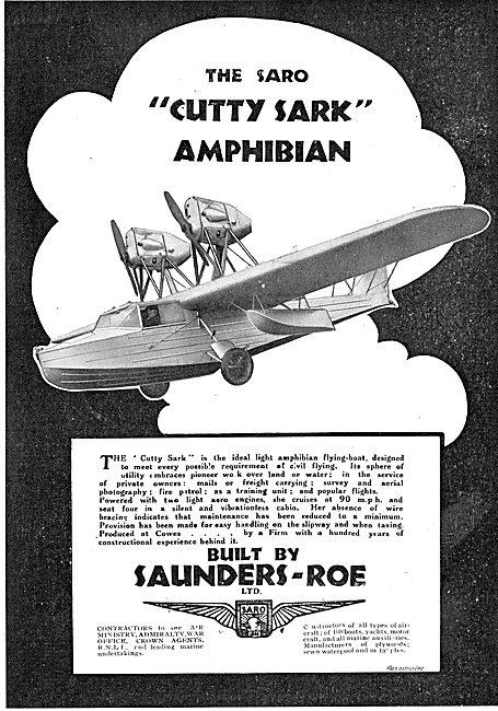 SARO Cutty Sark Amphibian Aircraft
