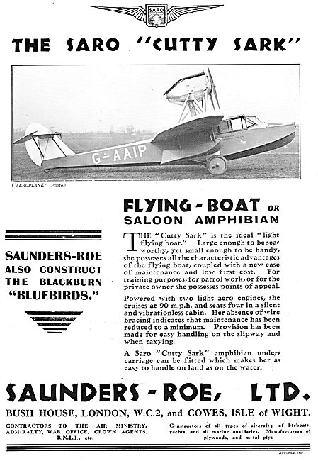 SARO Cutty Sark Flying-Boat Or Saloon Amphibian. G-AAIP