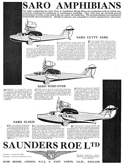 SARO Amphibian Aircraft Range. Wind-Over, Cloud, Cutty Sark