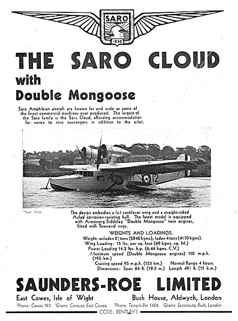 SARO Cloud Amphibian Aircraft