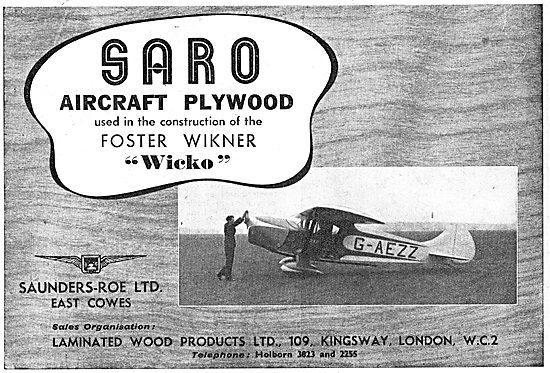 SARO Aircraft Plywood - Foster Wikner Wicko