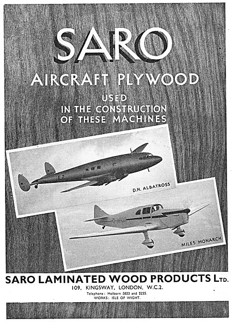 SARO Aircraft Plywood: DH Albatross : Miles Monarch