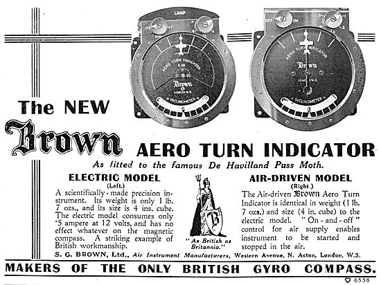 S.G.Brown Electric & Air Driven Gyro Turn Indicators