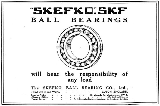 Skefco SKF Ball Bearings - 1917 Advert
