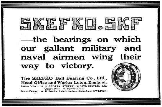 Skefco SKF Ball Bearings - WW1 Advert