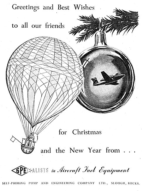 SPE Aircraft  Fuel Line Equipment. Christmas Greetings 1949