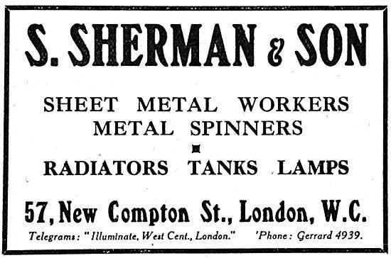 S.Sherman & Son - Sheet Metal Work. Metal Spinners 1917