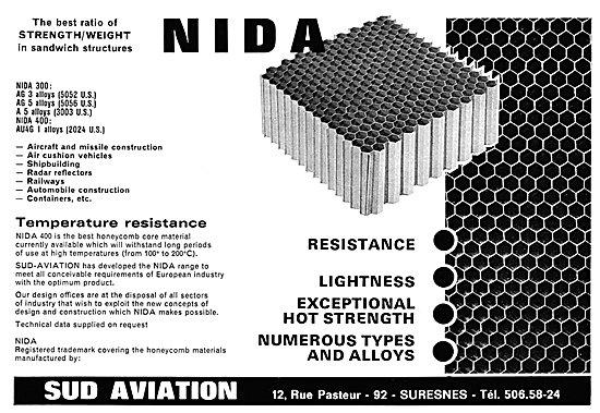 Sud Aviation NIDA 400 Honeycomb Core Material