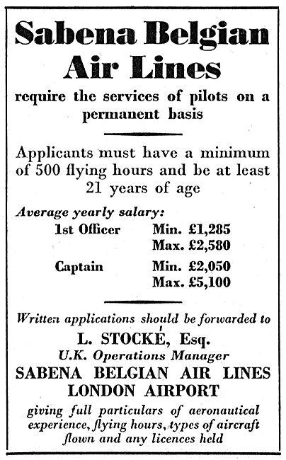 Sabena Pilot Recruitment 1952