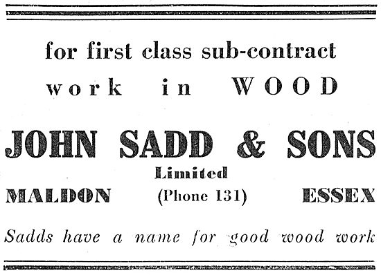 John Sadd - Woodworkers To The Aircraft Industry