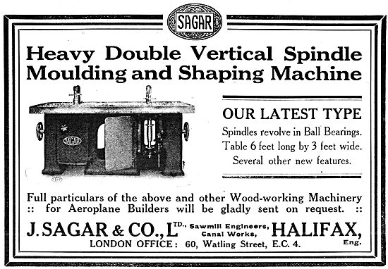 Sagar Vertical Spindle Moulding & Shaping Machine 1917 Advert
