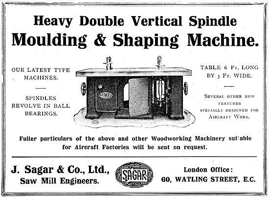 J.Sagar & Co. Woodworking Machinery For Aircraft Factories 1919