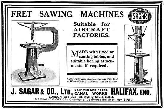 J.Sagar & Co. Woodworking Machinery For Aircraft Factories