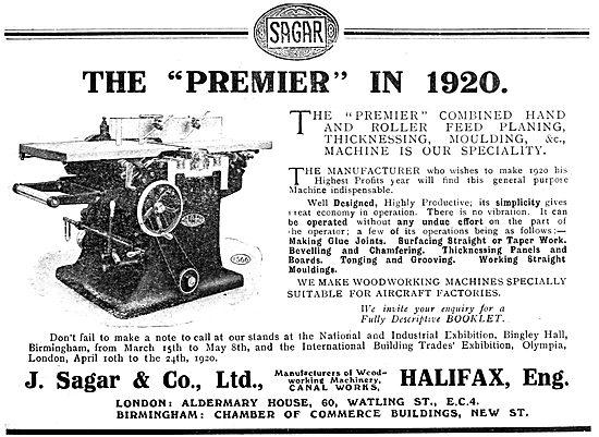 Sagar Woodworking Machinery.  Planing Machine 1920