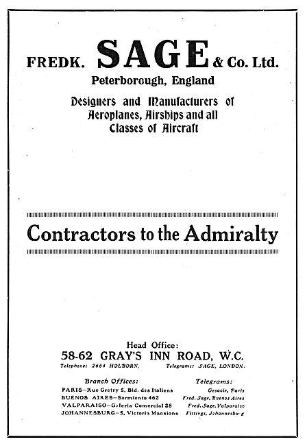 Fredk Sage & Co Peterborough Englsnd. Aeroplane Manufacturers