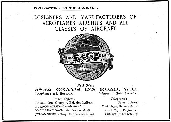 Fredk Sage Designers & Manufacturers Of All Classes Of Aircraft