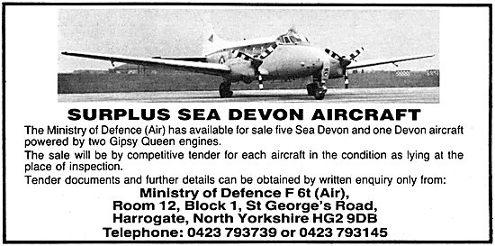 Ministry Of Defence Sales Of Surplus Sea Devon Aircraft 1981