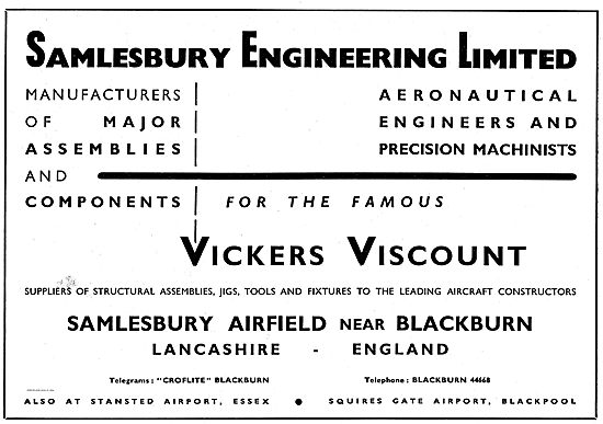 Salmesbury Engineering Components For The Vickers Viscount