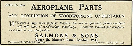 Salmons & Sons. Aeroplane Woodworking Contractors