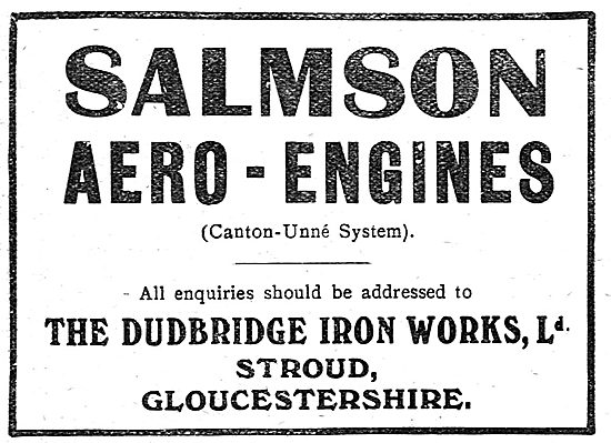Salmson Aero Engines. Dudbridge Iron Works Stroud, Glos