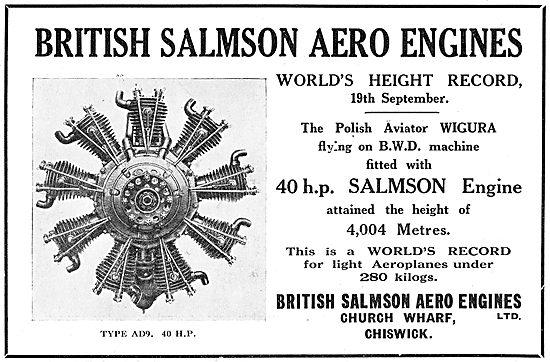 British Salmson 40 HP Aero Engine Holds World Height Record