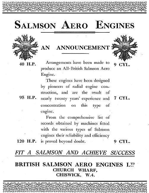 British Salmson Aero Engines - 40 To 120 HP Types