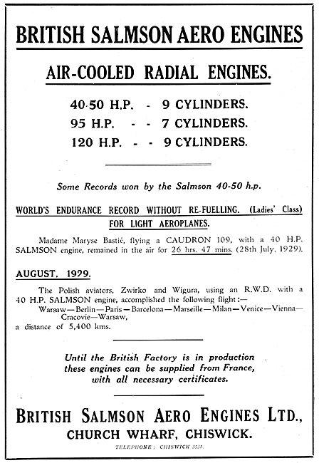 British Salmson Air-Cooled Radial Engines 1930