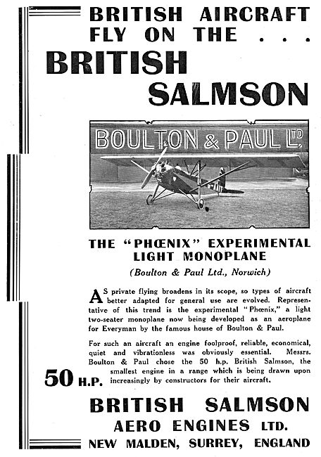 British Salmson 50HP  Aero Engine - Boulton & Paul Phoenix