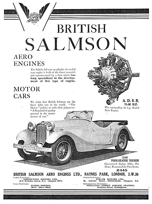 British Salmson Aero Engine & Motor Cars