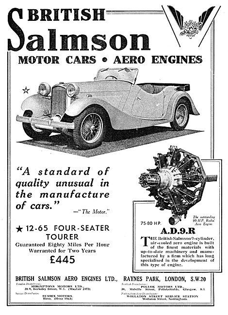 British Salmson 12-65  Four Seater Tourer Motor Car. 1934