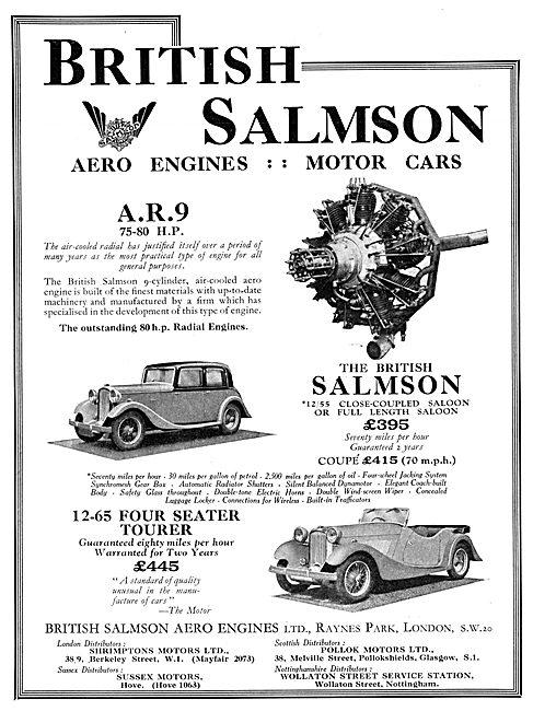 British Salmson Aero Engine - British Salmson Motor Cars