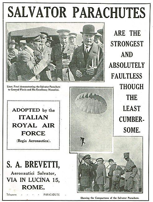 Salvator Parachutes Adopted By The Regia Aeronautica
