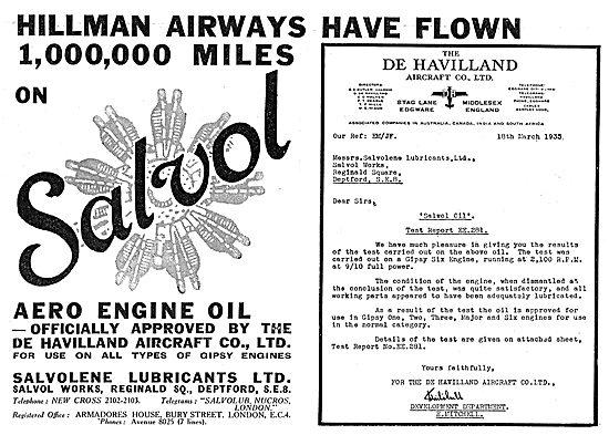 Salvolene Salvol Aero Engine Oils