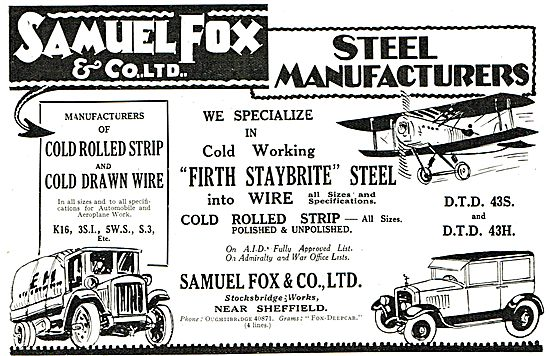 Samuel Fox Cold Rolled Strip & Drawn Wire For Aircraft Mfg..