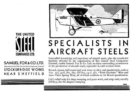 Samuel Fox Aircraft Steels. United Steel Companies 1929
